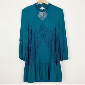 Altar'd State Mini Dress Lace Teal S Open Back